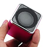CX-A08 FM Radio 1.5inch Screen Supported TF USB ANT Mini Music Speaker with Cube Shape-Red