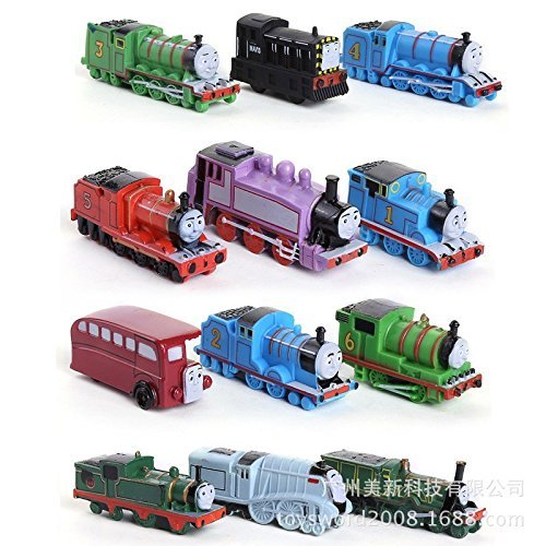 New 2015 12pcs/lot Thomas Mini Trains Figure Toys Thomas and His Friends Children's Educational Trains (Deluxe Thomas And Engineer Costume)