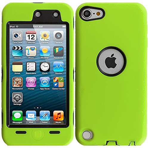mySimple Drop Proof Hybrid Armor Design Case for iPod 5 with Built in Screen Protector & Modern Sleek Design {Key Lime Green and Black Colors}