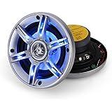 Auna CS-LED5 - Paire enceintes auto - Hauts-Parleurs de voiture pour tuning de toute sorte, coaxiaux 3 voies (13cm 5 pouces, 91 Décibels, câbles inclus) - Eclairage bleu LED