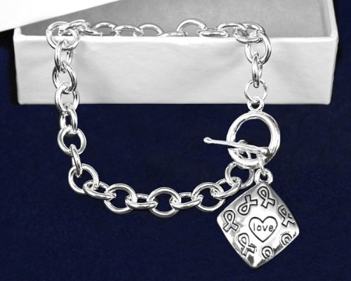 Silver Ribbon Bracelet- Square Love Bracelet (18 Bracelets)