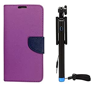 Novo Style Book Style Folio Wallet Case HTC Desire 816 Purple + Wired Selfie Stick No Battery Charging Premium Sturdy Design Best Pocket Sized Selfie Stick