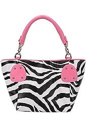 FASH Large Zebra Print Faux Leather Handbag