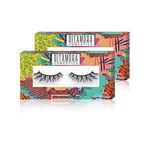 DITAMORA Fake Eyelashes Dramatic False Lashes Handmade & Cruelty-Free Wispy Lashes for Makeup Cosmetic,D1 (2 Pairs)