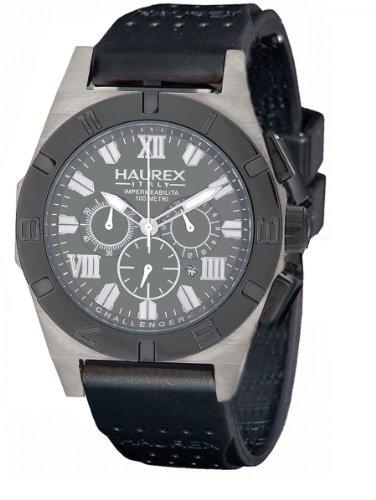 Haurex Italy Challenger-R - Reloj de caballero de cuarzo, correa de goma color negro