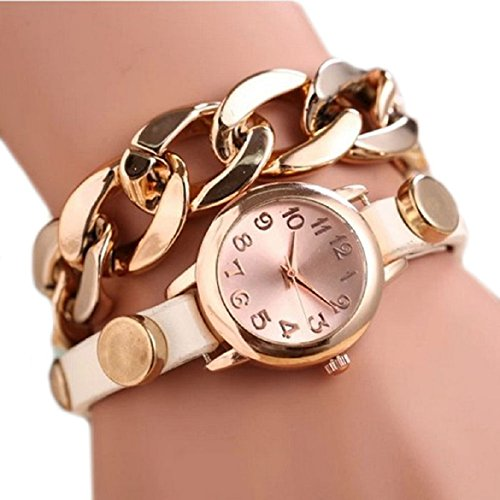 Susenstone(TM) 1PC Punk Women Gold Dial Leather Chain Wrap Analog Quartz Wrist Watch Bracelet (White) image