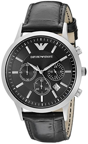Emporio Armani Men's AR2447 Classic Stainless Steel Watch with Black Leather Band (Emporio Armani Black Dial compare prices)