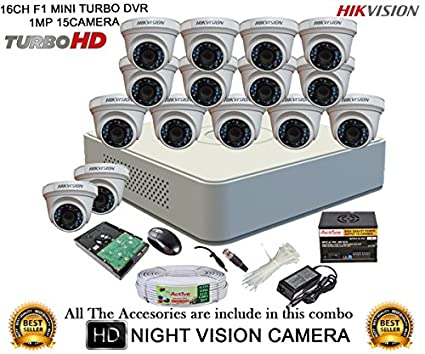 Hikvision-DS-7116HGHI-F1-Mini-16CH-Dvr,-15(DS-2CE56COT-IRP)-Dome-Cameras-(With-Mouse,-2TB-HDD,-Bnc&Dc-Connectors,Power-Supply,Cable-)