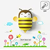 B&Y Kids Small Night Light LED Light and PVC Wall Stick Cute Aniaml with Sensor (Bee)