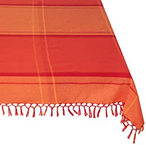 Mahogany Aaron Square Fringe Tablecloth, 60-Inch, Cayenne