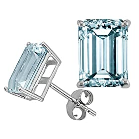 3.00cts Emerald Cut Aquamarine Earrings