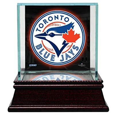 MLB Toronto Blue Jays Glass Single Baseball Case with Team Logo Background