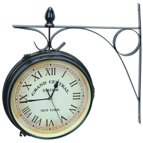 Best antique looking double sided railway clocks train for Train station style wall clock