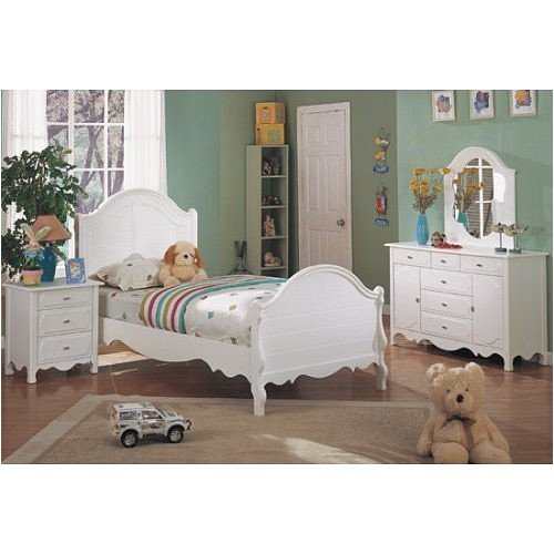 Cheap 4 pc white finish wood twin size kids bedroom set (F9028)
