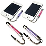 No1accessory new purple + pink crystal shaft stylus pen for Samsung Galaxy s 2 SII GT i9100 Genio 2 GT S3850 Tocco icon GT S5260 Galaxy fit S5670 Wave 2 GTS8530 Galaxy mini GT S5570 Ace GT S5830 Nexus S sclCD GT i9023 omnia W i8350 wave 723 GT S7230 GIO