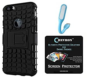 Chevron Hybrid Military Grade Dual Armor Kick Stand Back Cover Case for Apple iPhone 6 with HD Screen Guard & Mini USB LED Light Lamp (Space Black)