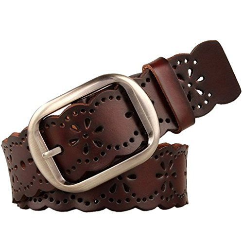 JasGood Women's Hollow Flower Genuine Cowhide Leather Belt With Alloy Buckle (Dark Brown) (Belt Women Leather compare prices)