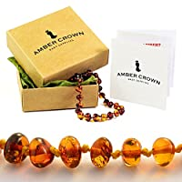 Amber Crown Baltic Amber Teething Bracelet / Anklet for Babies (Honey Colour) - Anti Inflammatory, Drooling & Teething Pain Reduce - Certificated Premium Quality Baltic Amber Jewelry - Mommy Approved Remedy in a Gift-ready Packaging! from Amber Crown