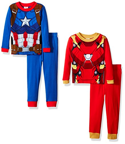[Marvel Boys' Little Boys' Captain America and Iron Man Uniform 4-Piece Pajama Set, Blue/Red, 6] (Captain America Uniform)