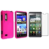 eForCity Hot Pink Snap-on Rubberized Case with Free Screen Protector Compatible with LG Thrill 4G / Optimus 3D