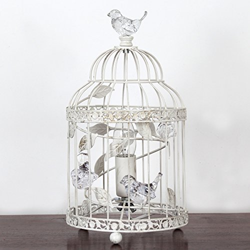 Vintage Bethany Birdcage Metal Table Lamp Acrylic