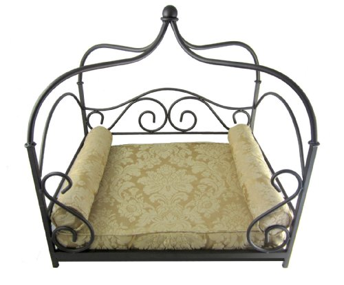Wrought Iron Pet Canopy Bed Vintage Cream - Small