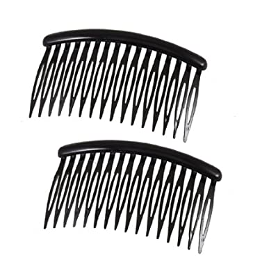 "uxcell Women 16 Teeth Black Plastic Comb Hair Pin Clip 3.1"" Long 2 Pcs"