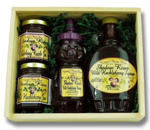 Shadow River Wild Huckleberry Gourmet Boxed Gift Set - Huckleberry Syrup, Honey & 2 Jams