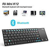 Rii K12BT Ultra Slim Portable Mini Wireless Bluetooth Keyboard With Large Size Touchpad Mouse ,Stainless Steel...
