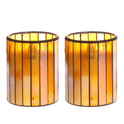 Dfl 3*4 Inch Yellow Vertical Stripes Mosaic Glass With Flameless Led Candle With Timer,Work With 2 Aa Battery,Pack Of 2