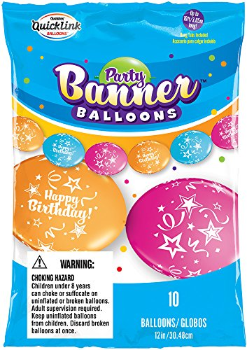 Party Banner Balloons 10 Count Happy Birthday QuickLink Banner Balloons, 12-Inch