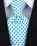 Scott Allan Men's Tie Checkerboard Necktie - Teal/White