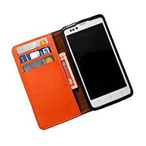 i-KitPit PU Leather Wallet Flip Case For Nokia Lumia 630 / 630 Dual SIM (ORANGE)
