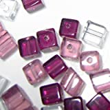 100 pieces 4mm Clipped Cube Style Value Crystal Glass Beads - Amethyst Mix - A3041
