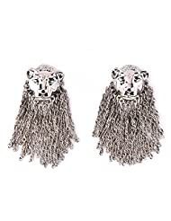 1.1⁰ By Xpressionss Trendy Silver Chain Lion Stud Earring For Women F-XBKKE0815183