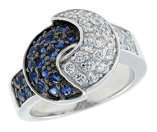 Sterling Silver  &  Rhodium Plated Overlapping Crescent Moon Band, w/ Tiny High Quality Sapphire  &  White CZ's, 5/8