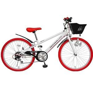 (ディーパー)DEEPER 24インチ 子供用自転車 DE-24 6段変速 シマノCIデッキ・バスケット・ライト・カギ標準装備 ホワイト