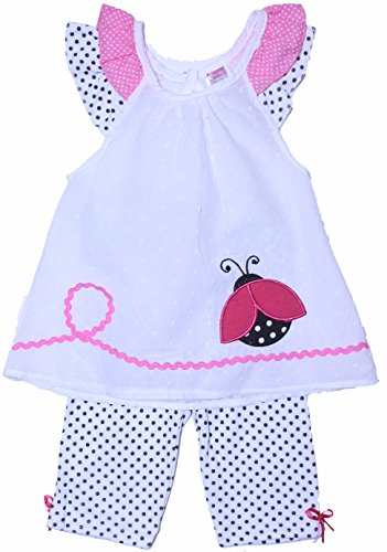 Coney Island Baby Girls Lady Bug White Summer Dress & Polka Dot Leggings