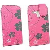 Kit Me Out FR Étui à rabat cuir synthétique pour Samsung Galaxy S3 Mini i8190 - rose/noir mélange de fleurs