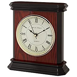Fox and Simpson Teak and Black Colored Wood Table Mantel Clock with Piano Finish