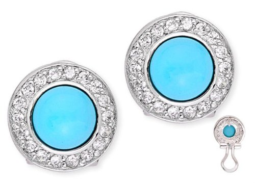 Gayle's 925 Sterling Silver Stud Earrings Blue Turquoise Cabochon & CZ Diamonds Circle Outline - Incl. ClassicDiamondHouse Free Gift Box & Cleaning Cloth