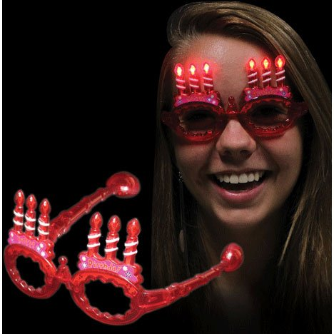Windy City Novelties Red LED Light Up Happy Birthday Party Dance Spirit Sun Glasses