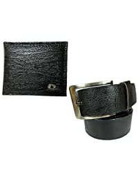 Needs Apki Needs Textured Black Men's Wallet And Stylish Textured Black Color Men's Belt Combo