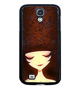 Fuson Premium 2D Back Case Cover Cute Girl With Red Background Degined For Samsung Galaxy S4::Samsung Galaxy S4 i9500