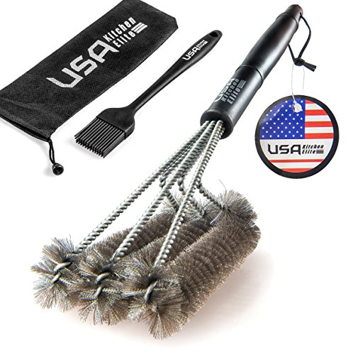 USA Kitchen Elite 18-Inch Stainless Steel Grill Brush with Handy Bag and Basting Brush (Grill Steel compare prices)