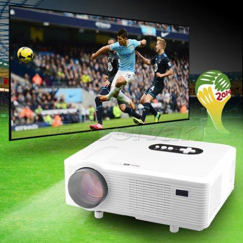 New Mini 3000Lumen Hd Home Theater Multimedia Lcd Projector 1080P-Hdmi Analog Tv Vga Av 3D Red Blue Native 1280*800 - White