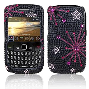 Premium - Blackberry Curve/Gemini 8520/8530/9300/9330 Curve Full Diamond Protex Black Supernova stars(Carriers: AT&T, T-Mobile ) - Faceplate - Case - Snap On - Perfect Fit Guaranteed