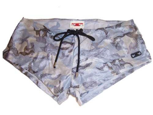 UnderGear Tactics Metallic Camo Squarecut Form Fitting Swim Trunks Silver