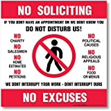 """My Sign Center 4 Pack Self Adhesive 4 Mil Vinyl Decal, Legend ─ No Soliciting No Excuses ─ 6"""" X 6"""""""