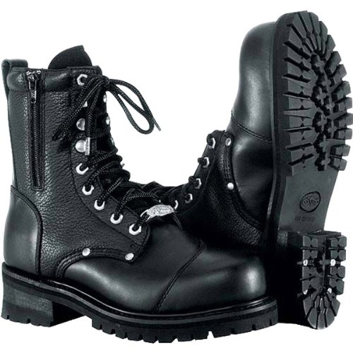 River Road Double Zipper Field Men's Leather Touring Motorcycle Boots - Black / Size 9.5